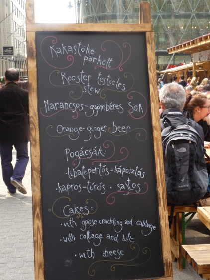 Typical local menu in Budapest