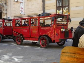 Little red tourist bus Bratislava