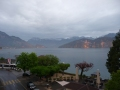 View from hotel balcony Weggis Switzerland across Lake Lucerne