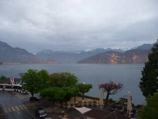 View from hotel balcony Weggis Switzerland across Lake Lucerne