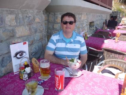 Monsieur Le Chic Enjoying the local fayre at the Bergrestaurant Harder Kulm