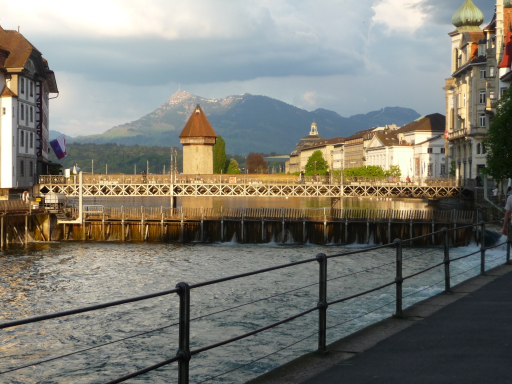 View back to the Kapellbruecke Lucerne from Nix In Der Laterne restaurant