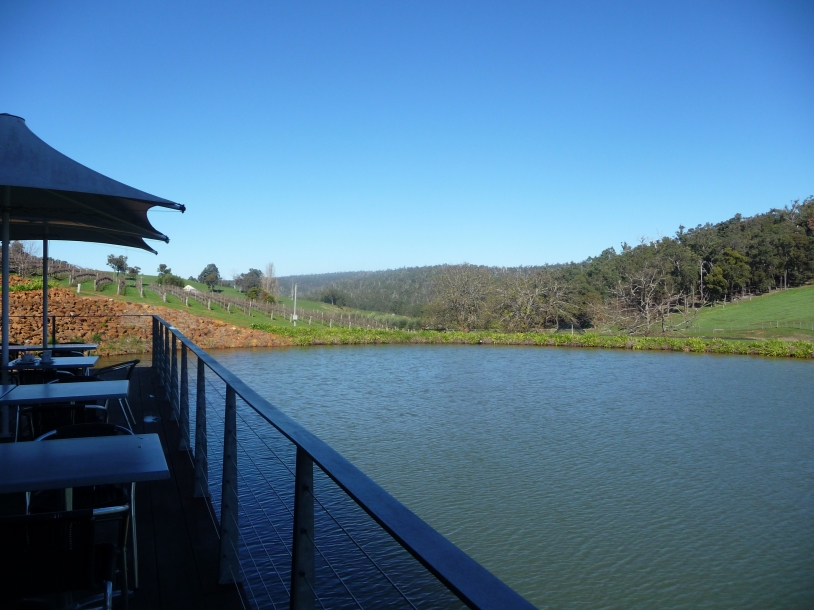 View across lake Millbrook Winery veranda