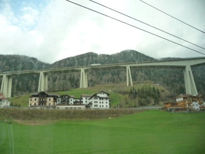The Europa Bridge south of Innsbruck Austria connecting via the Brenner Pass to Italy