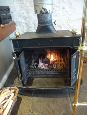 Welcome log fire inside the Devonshire Arms Bolton Abbey Yorkshire