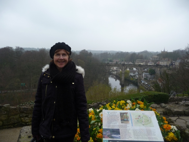 View towards the rail bridge and over the river Knaresborough Yorkshire