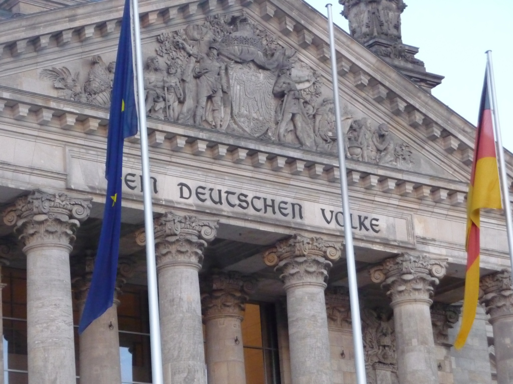 "Inscription on the front of the Reichstag Building Berlin ""Dem Deutschen Volke"" To The German People."