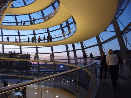 Wending our way up the glass dome of the Reichstag Building