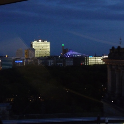 The city of Berlin at night from the Reichstag Building