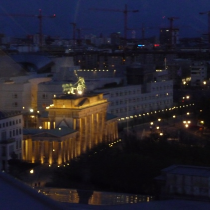 View of Brandenburg Gate from the Reichstag Building at night