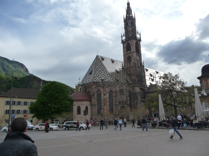 Storm clouds approaching Bolzano main piazza