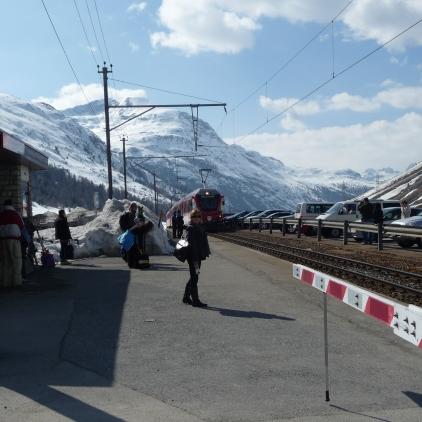 Waiting on the platform at Diavolezza Station