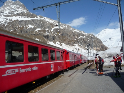 Rhaetian Bahn Train on the line over the Bernina Pass