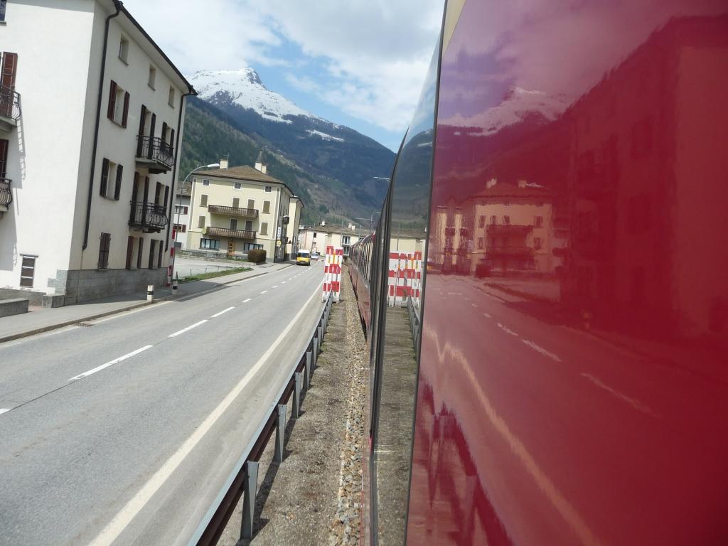Train running through Poschiavo