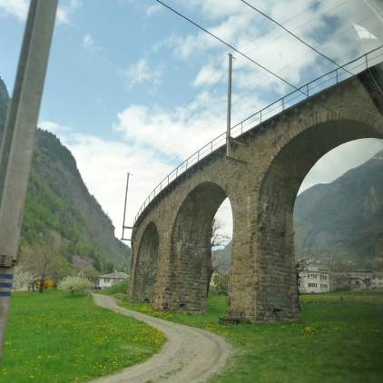The arches of the Brusio spiral viaduct