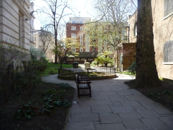 The little park next to St Botolph's Aldersgate