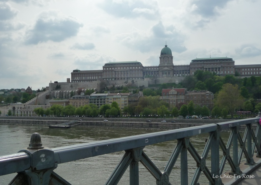 Buda Castle Hill area viewed from the Chain Bridge crossing the River Danube