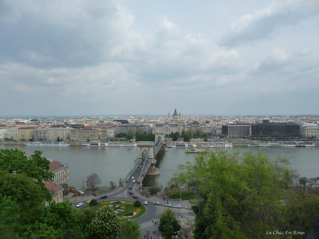 View across the Danube and The Chain Bridge back towards Pest from Buda Castle Lookout
