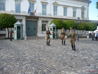 Old guard relieving the new guard as part of the ceremony outside Alexander Palace on Buda Castle Hill