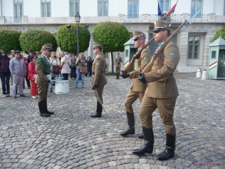 Guards leaving at the end of the ceremony on Buda Castle Hill
