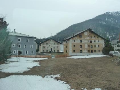 Houses in the Upper Engadin Valley near St Moritz