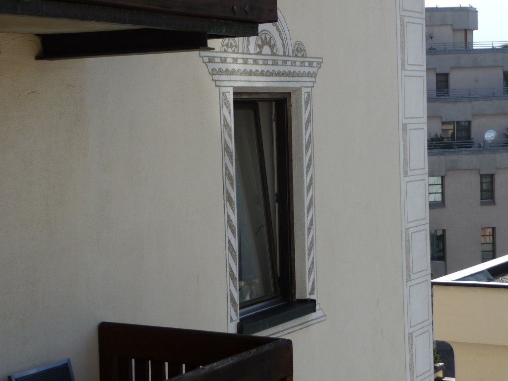 Sgraffito around window at Hotel Steffani St Moritz