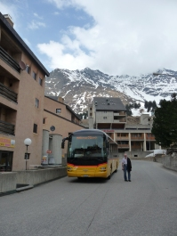 Swiss Post Bus at Mesolcina the Italian speaking part of Graubuenden