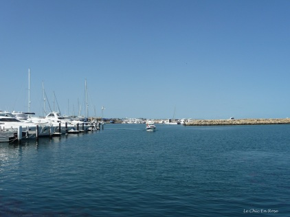 Boat setting off from Hillarys Marina out into the Indian Ocean