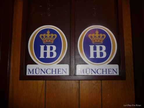 Traditional beer mat wall plaques at the Rhein Donau Club