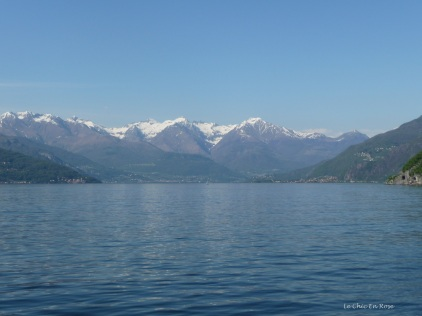 Cruising on Lake Como with the view up to the Alps