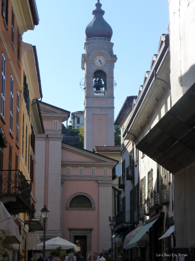 Main street Menaggio with the church at the end