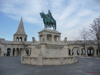 Bronze statue of Stephen 1 of Hungary situated between Fisherman's Bastion and Matthias Church