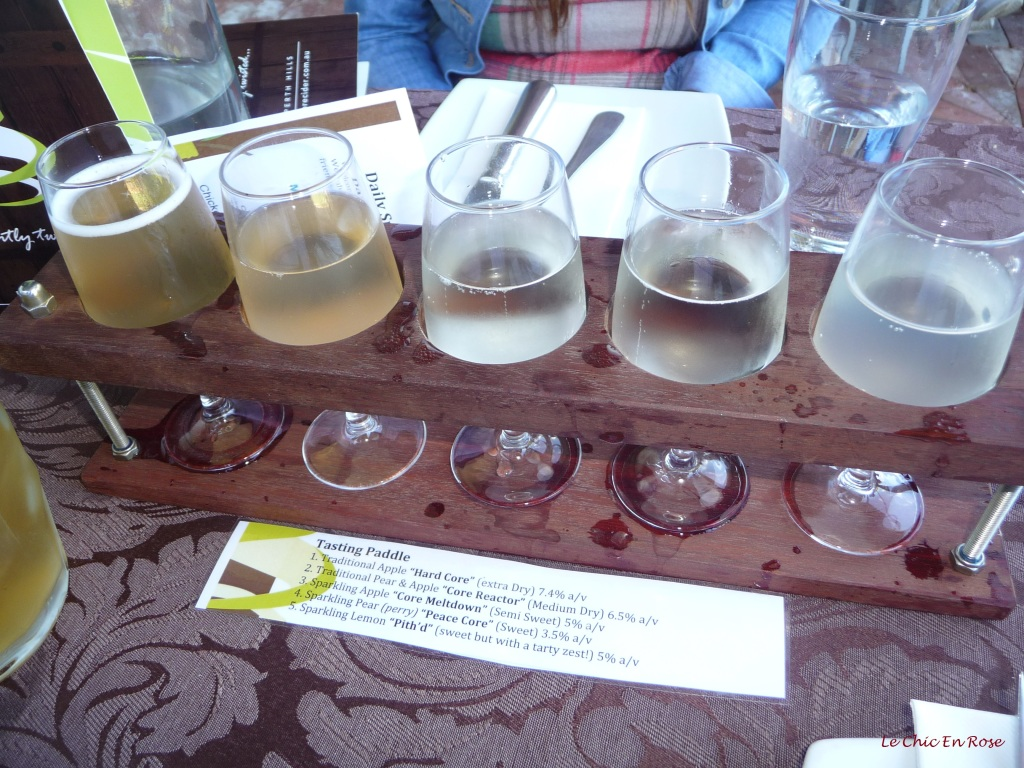 Cider Tasting Paddle at the Core Cider House Pickering Brook