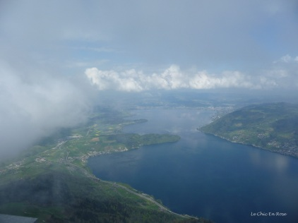 The clouds are starting to creep across the landscape. The view is down towards Lake Zug from Rigi Kulm