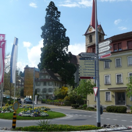 Signposts in the centre of Weggis Switzerland