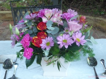 Beautiful arrangement of flowers for Christmas