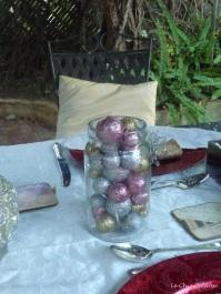 Glitter balls in glass jar