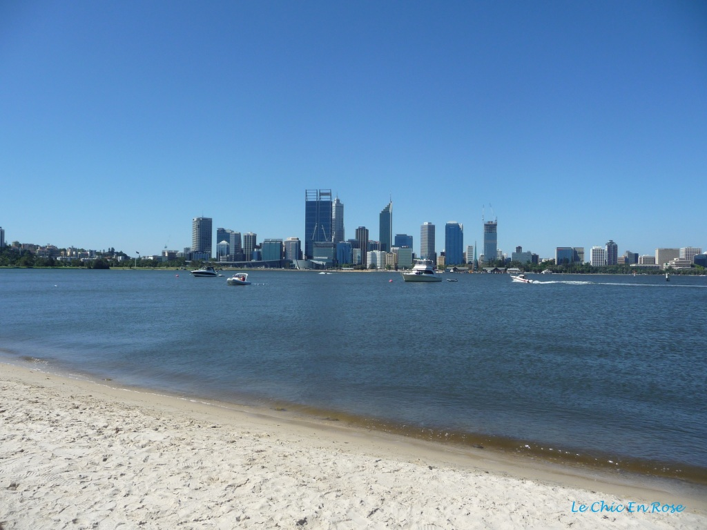 View back towards Perth city centre from the South Perth foreshore. The Swan River is in the foreground.
