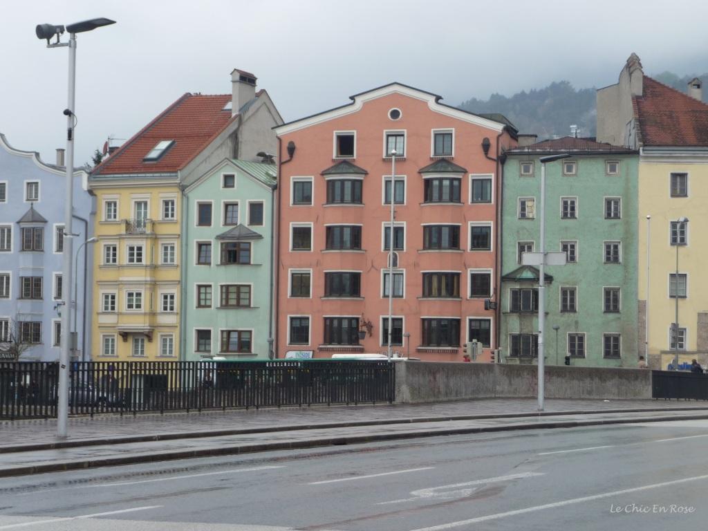 Painted houses along the River Inn, Innsbruck