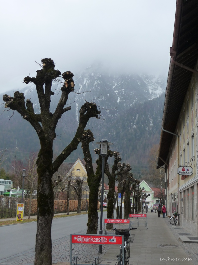 The view back towards the Alps from Mittenwald main street obscured by the rain and mist!