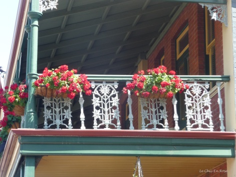 Hanging baskets adorn the balconies