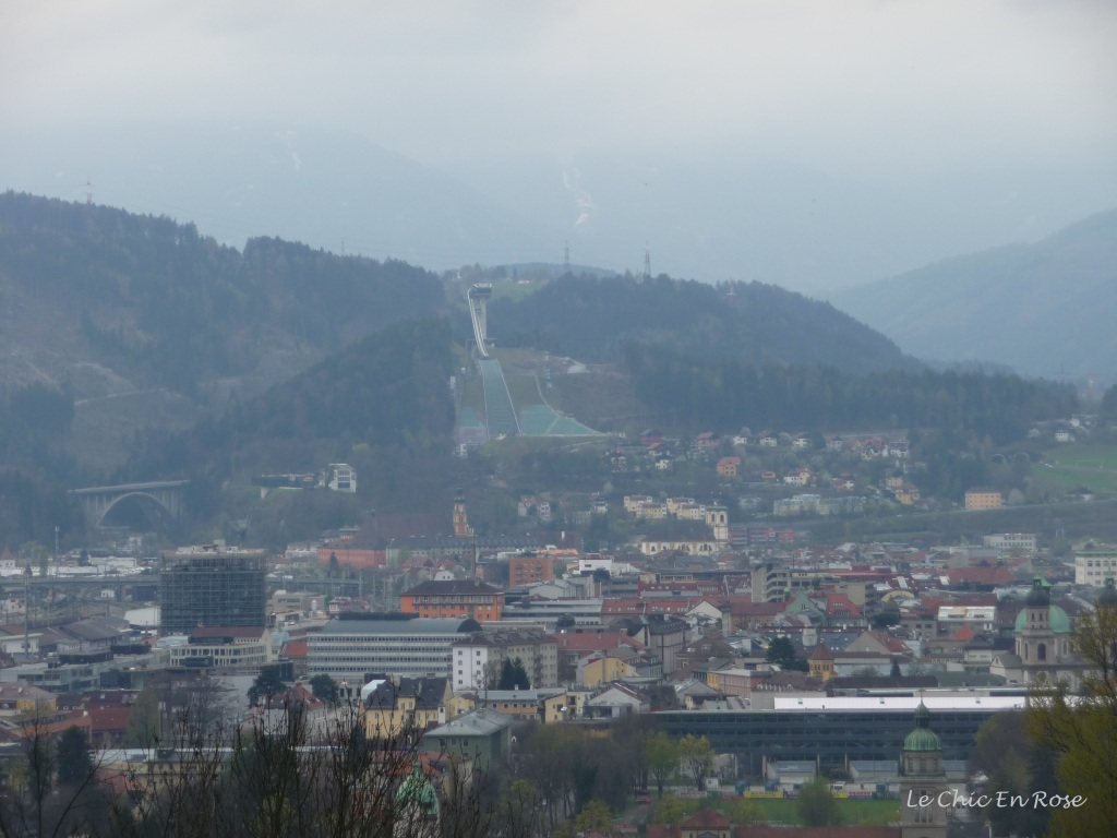 The Innsbruck Ski Jump at Bergisel viewed from the other side of the valley on the Nordkette