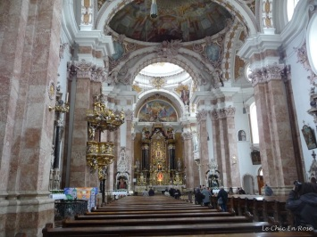 The interior of the Baroque Cathedral of St Jakob