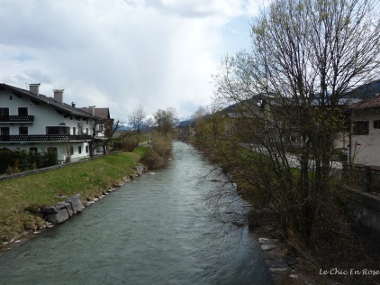 View down one of the alpine rivers that converge in St Johann