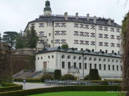 The impressive exterior of the Renaissance castle of Schloss Ambras Innsbruck