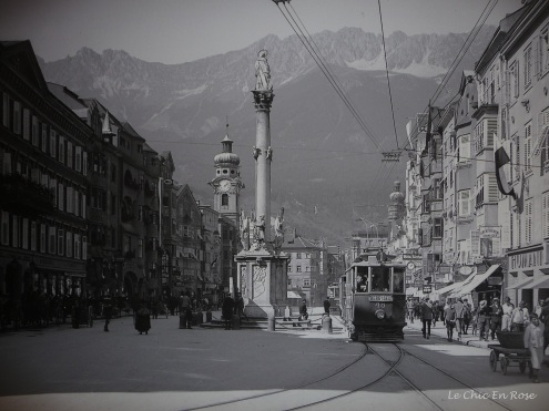 Innsbruck past in black and white with trams
