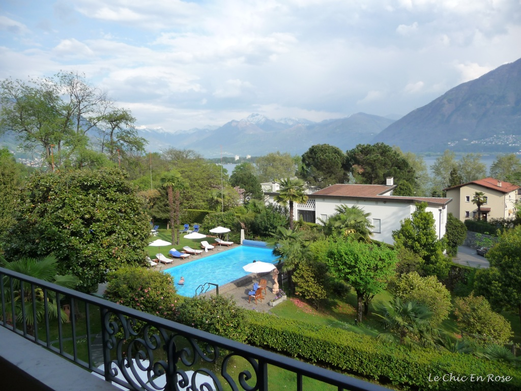 View from hotel balcony Albergo Remorino Locarno Switzerland