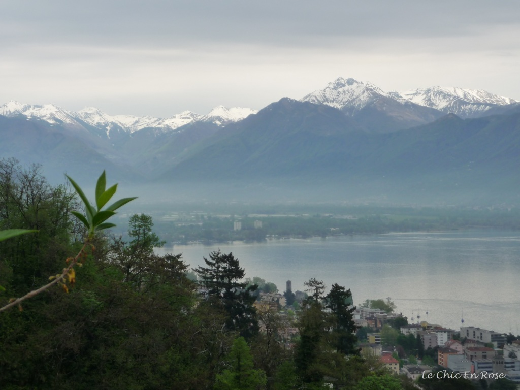 View across Lake Maggiore and towards the Alps from the Madonna del Sasso Lookout point
