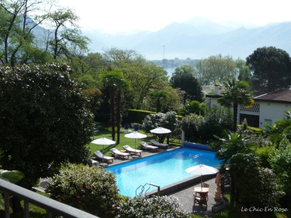 View down to the pool and gardens from balcony Hotel Albergo Remorino