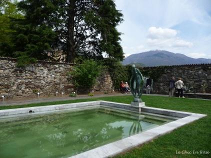 Nude classical statue round the pool Isole di Brissago
